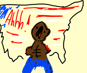 African American male with no arms yells
