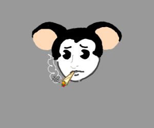 Sad mouse smoking pot