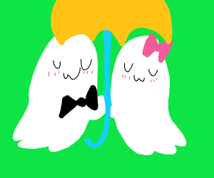 newly wedded couple with ghost umbrella