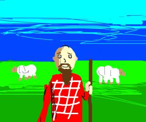 Bearded farmer in field