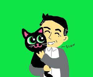 Elon Musk hugging a cat