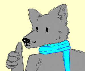 Wolf w/ blue scarf giving thumbs up