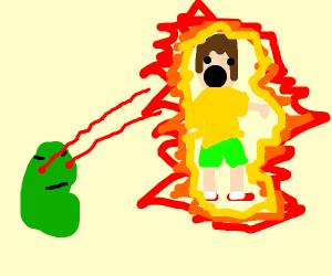Green bean fires a lazer beam at billy