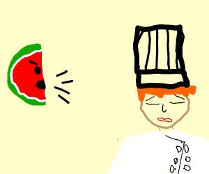 melon yelling at chef