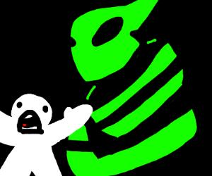man fleeing from angry radioactive bee