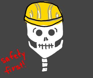 Skeleton wearing a hardhat