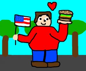 American dude loves hamburger