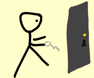 A stickman trying to unlock a locked door