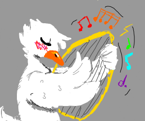 Duck playing the harp