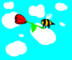 Bees carrying a rose