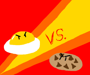 fried egg and cookie fighting