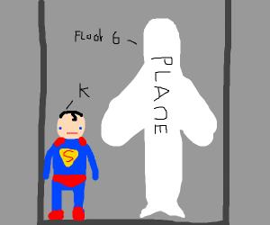 Superman lifting a plane