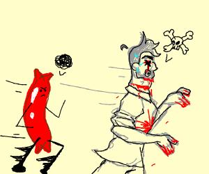 Dead man getting chased by a hotdog