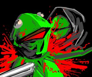 Hoodie Kermit stabs green Kermit with knife