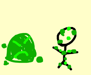 Green goo monster infects stickman.