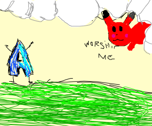 Drawception-A worships a red Pikachu