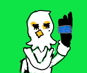 Washimi holding her phone