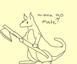 Kangaroo with axe