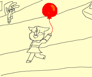 a happy rhino with a red balloon