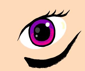 Eye with eyebrows underneath