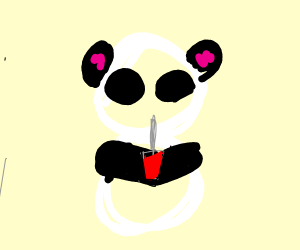 Panda drinks blood