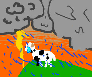 sad cow in a thunderstorm