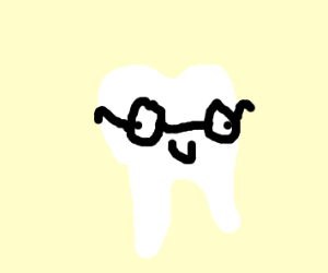 Tooth wearing glasses