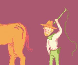 Cowboy Scolding a Horse
