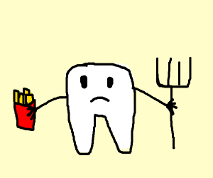 A sad tooth with a pitchfork and french fries