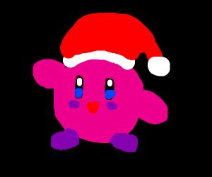 Kirby wearing a Santa hat