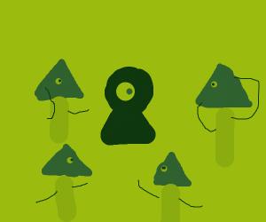 A bunch of illuminati trees look at a keyhole
