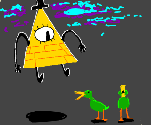 Bill Cipher with a bunch of ducks