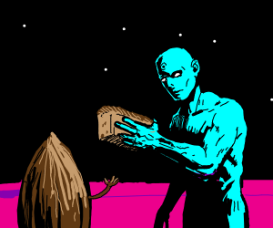Blue person giving bread at an almond