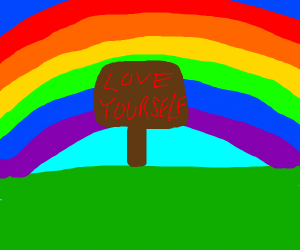 Love yourself sign in front of a rainbow