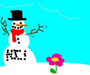 snowman waves arms at flower