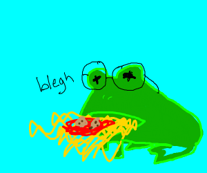 Frog with glasses spews spaghetti