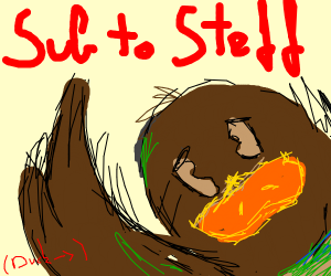 Brown duck telling you to subscribe to Steff
