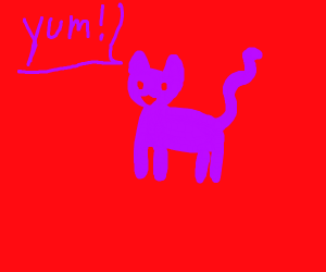 "purple cat says ""yum"""