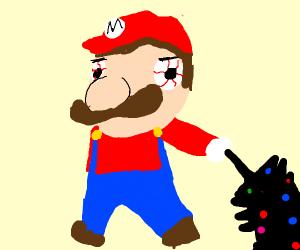 Mario holding black Christmas tree