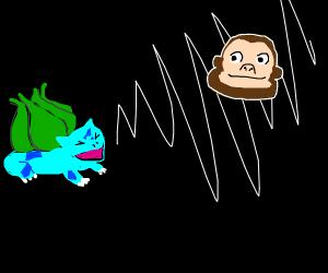 Bulbasaur screeches at a floating monkey head