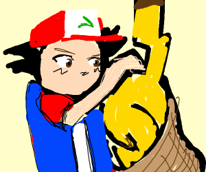 Ash stuffs pikachu into a sack