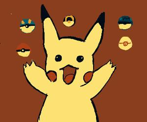 Pikachu got all pokeballs!