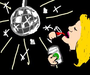 Drunk white girl in the disco pose