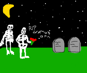 Skeletons visiting grandparents grave