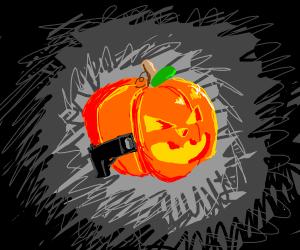 pumpkin with gun