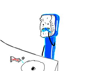 Toothbrush brushing its teeth