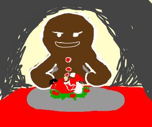 The gingerbread man eats Santa