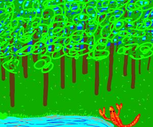 Larry the Lobster explores a rainforest