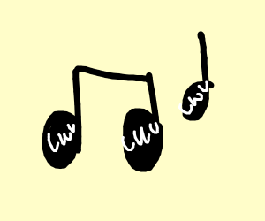 music notes making an uwu face