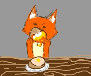 fox  eating pankekes
